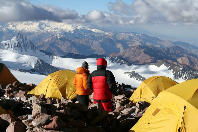 Climbers acclimatizing at camp two of Aconcagua